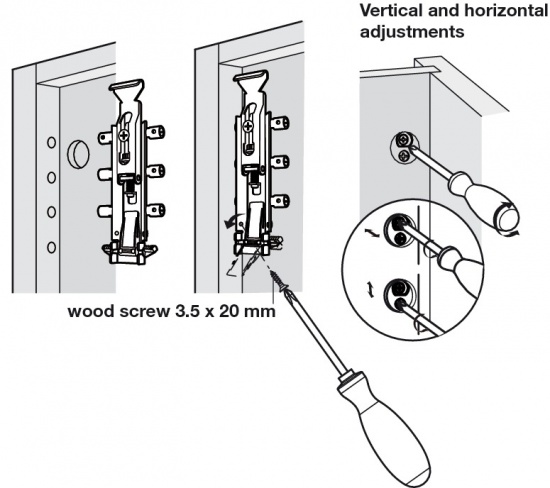 Spider Concealed Cabinet Hanger Unhanded Dowel / Screws Fixing
