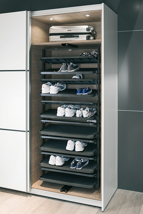 shoe rack extending  u0026 180 u00b0 rotating for tall cabinets