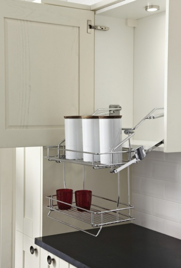 Kitchen Pull Down Basket Shelves / Two Tier Chrome Wire Shelf