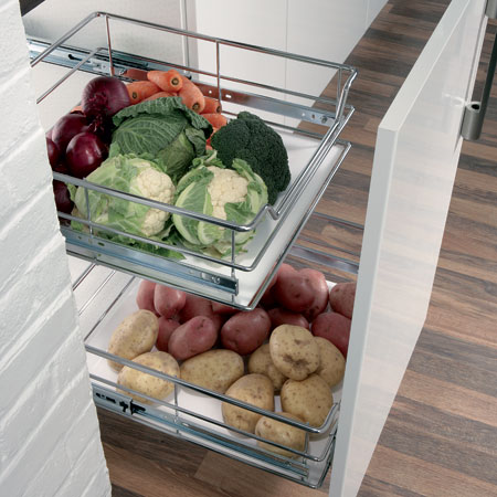Kitchen Cabinet Pull Out Vegetable Basket With Soft Close Runners