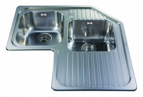 CDA Kitchen Corner Unit Double Bowl Sink - CCP3SS