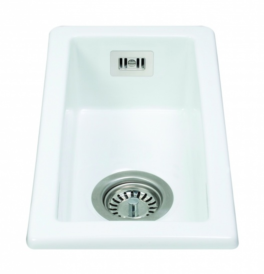 CDA Ceramic Undermount Half Bowl Sink White - KC41WH