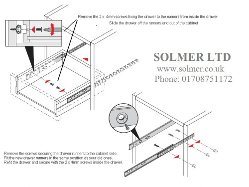 5 Pairs Metal Ball Bearing Drawer runner Pr 278mm draw depth for 17mm by GTV