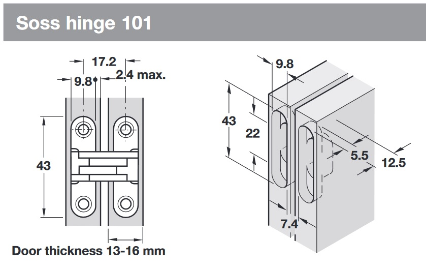 Soss Hinge 101 For 13 16 Mm Door Thickness