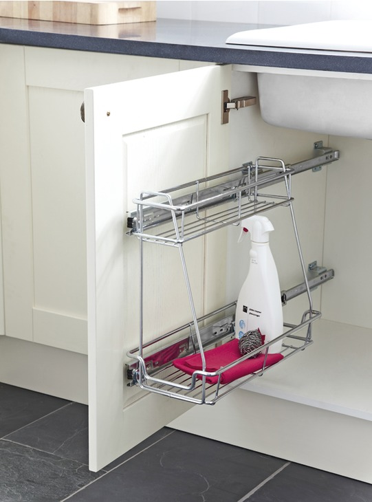 Undersink Pull Out Two Tier Storage Unit Linear Version